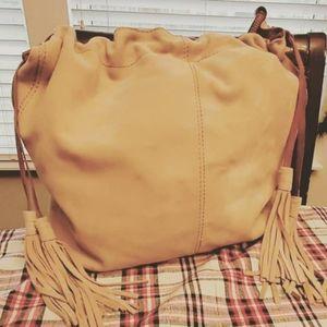 VNTG Lucky Brand Leather Drawstring Bag